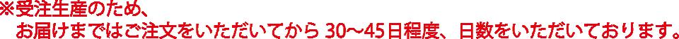 ※受注生産のため、お届けまではご注文をいただいてから30~45日程度、日数をいただいております。